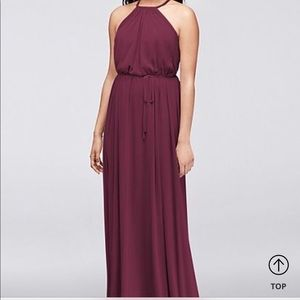 Burgundy David's bridal dress